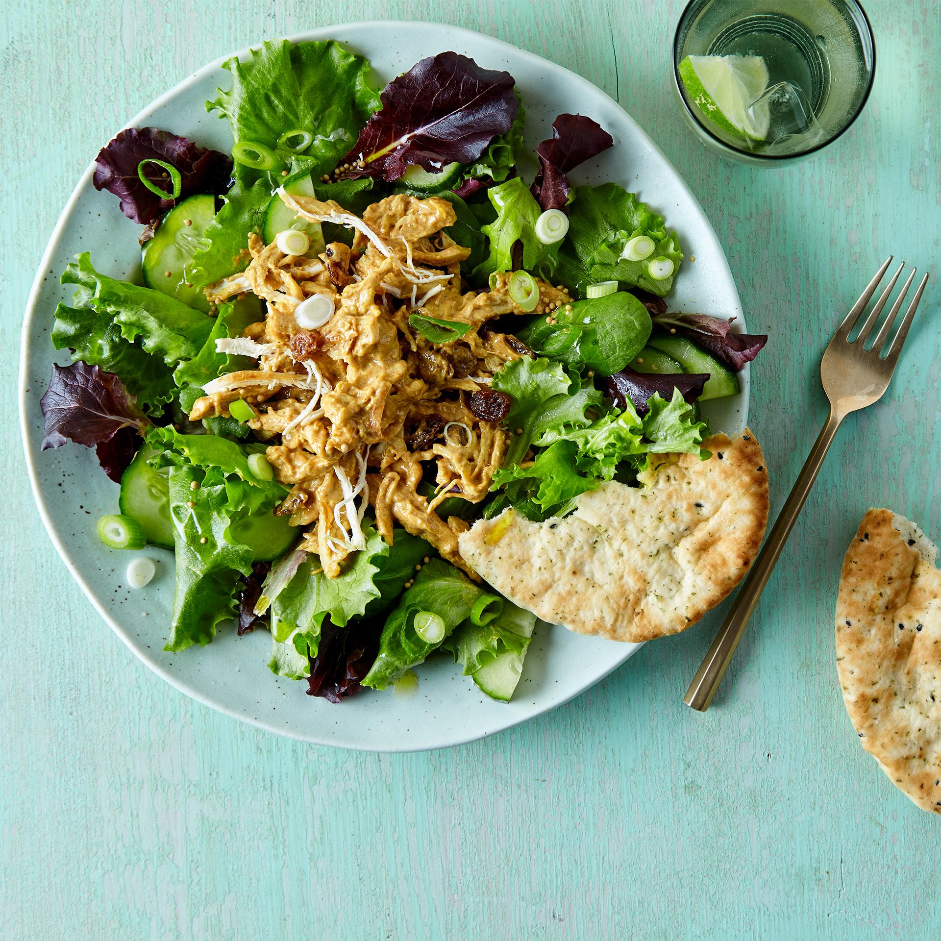 Coronation Chicken Salad & Baby Naan Recipe | Gousto
