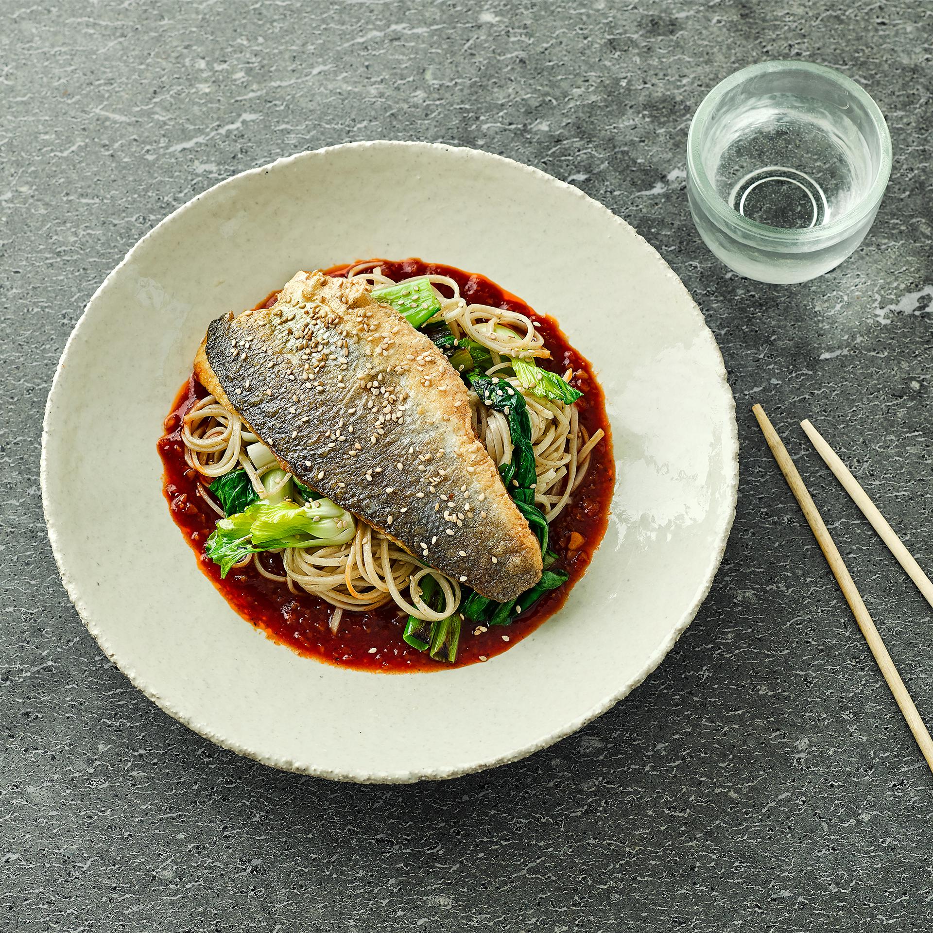 Sea bass pak choi szechuan sauce recipe gousto for Turkish sea bass recipe