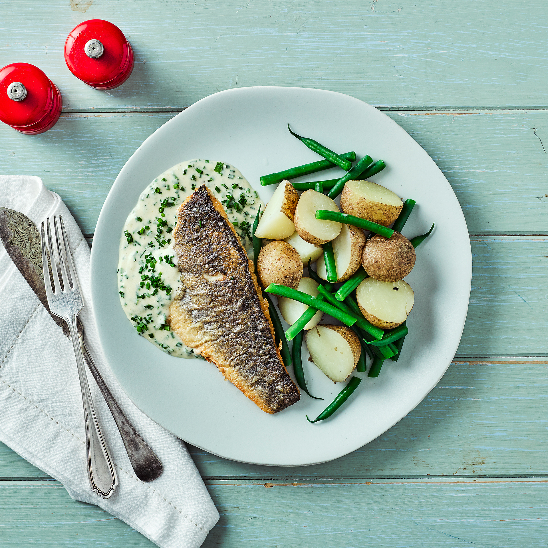 Pan Fried Sea Bass Chive Butter Sauce Recipe Gousto