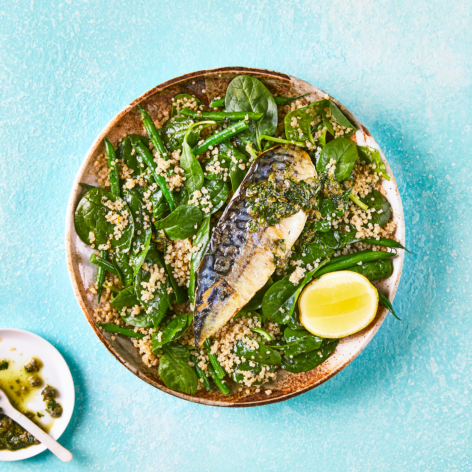 Mackerel Quinoa Salad With Lemon Caper Dressing Gousto