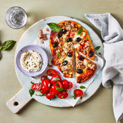 Food boxes get fresh food ingredients delivered gousto tuna olive pizza with herby garlic dip new recipe forumfinder Gallery