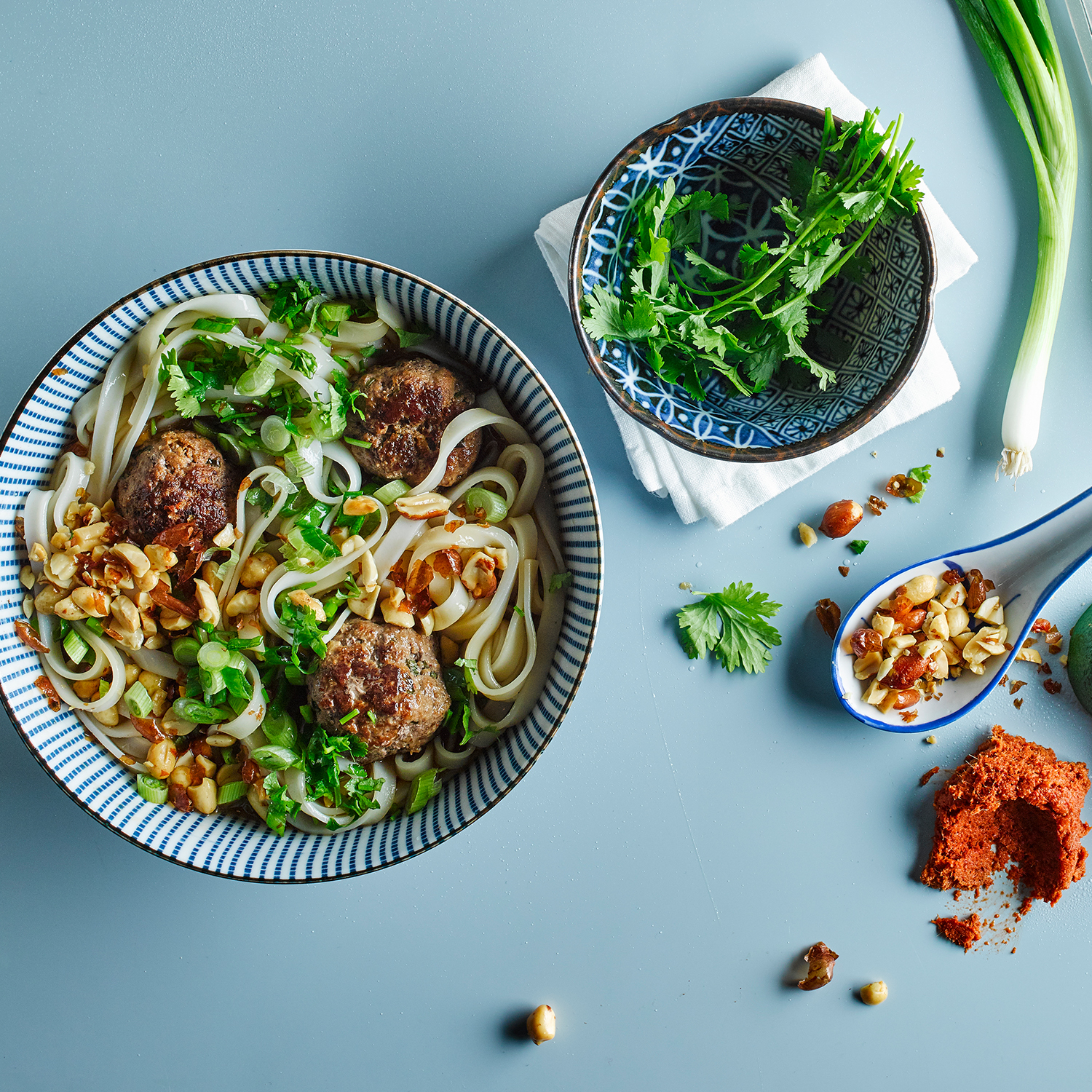 thai beef meatballs with rice noodles recipe   gousto