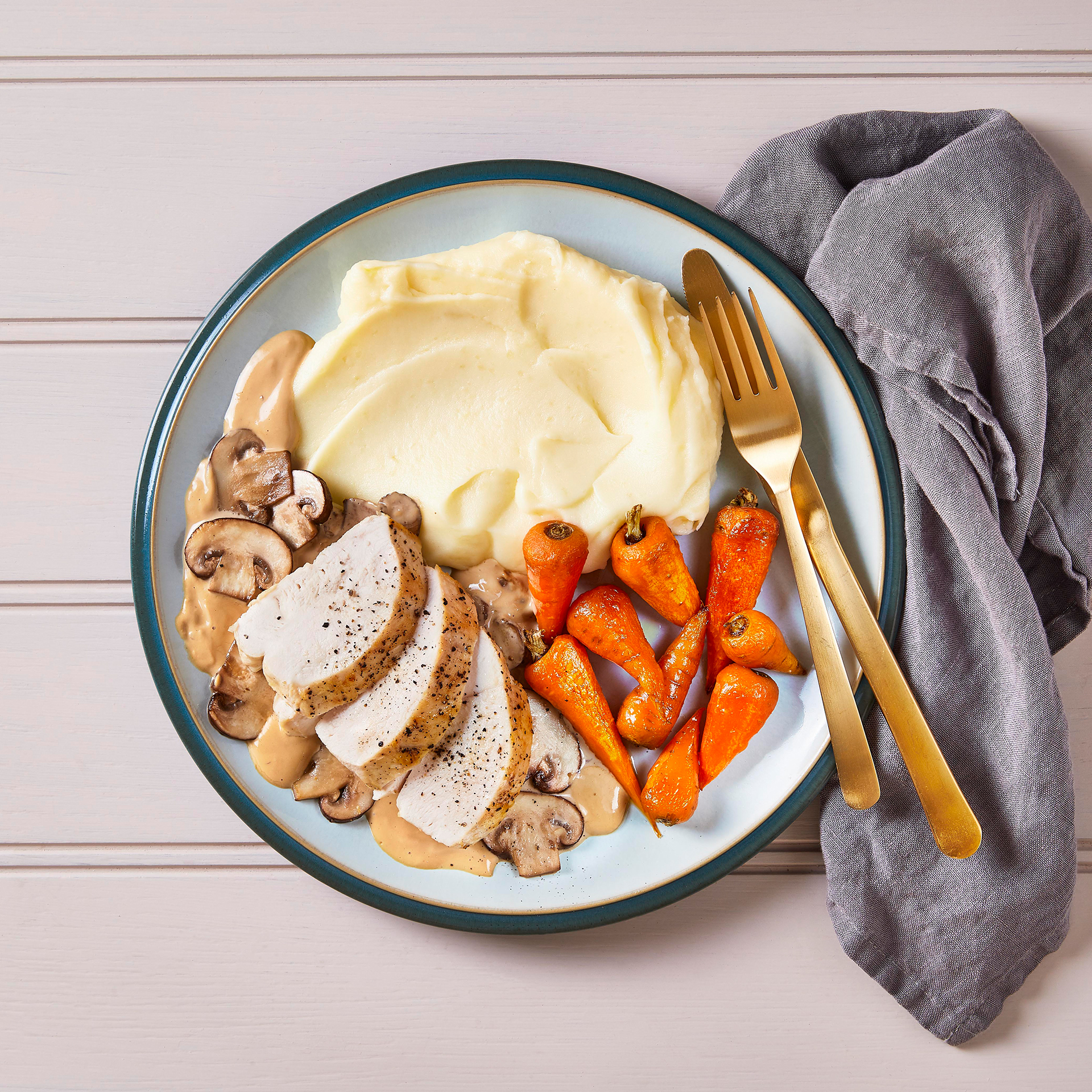 Chicken With Creamy Mushroom Sauce & Mash Recipe