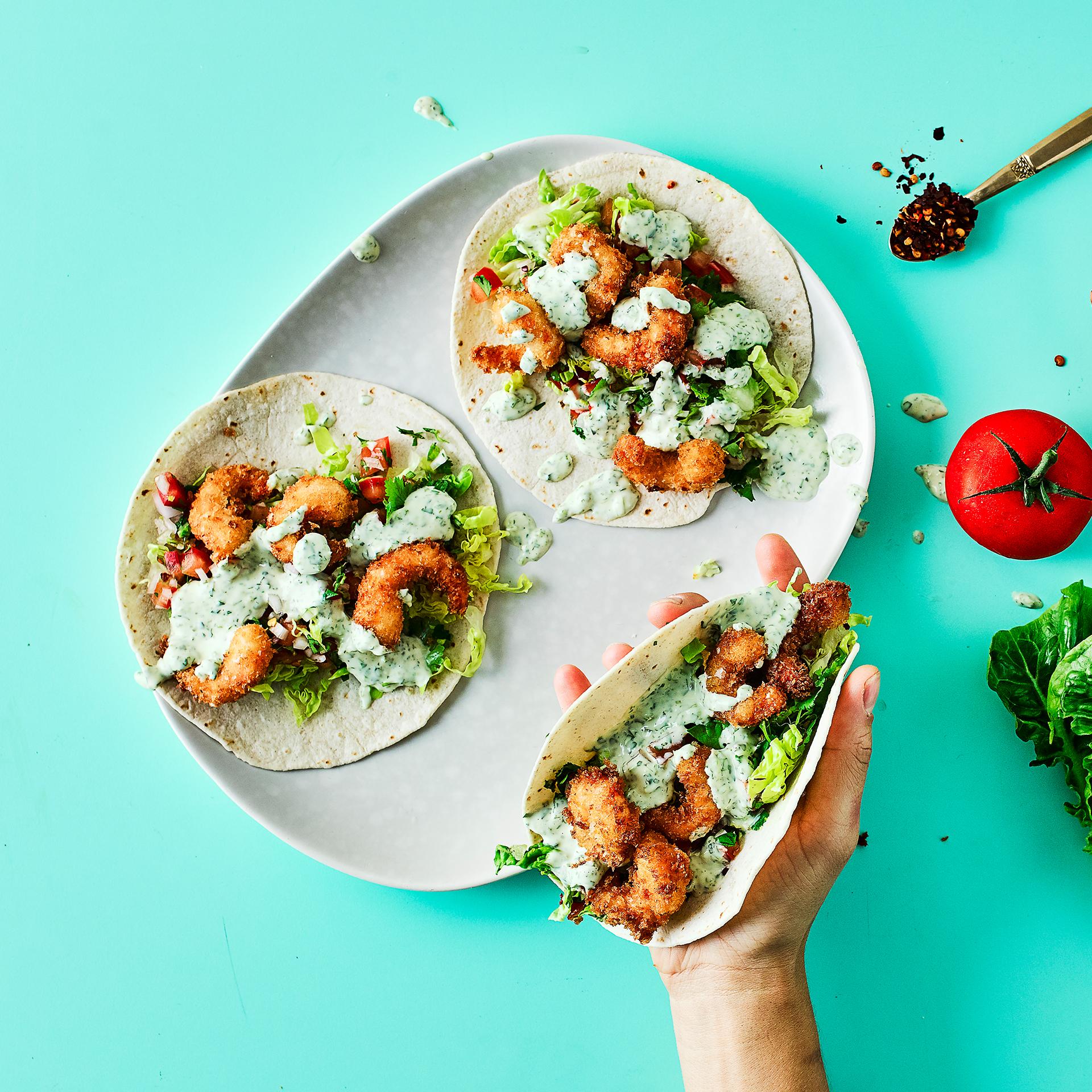 Crispy Prawn Tacos With Coriander Mayo Recipe | Gousto