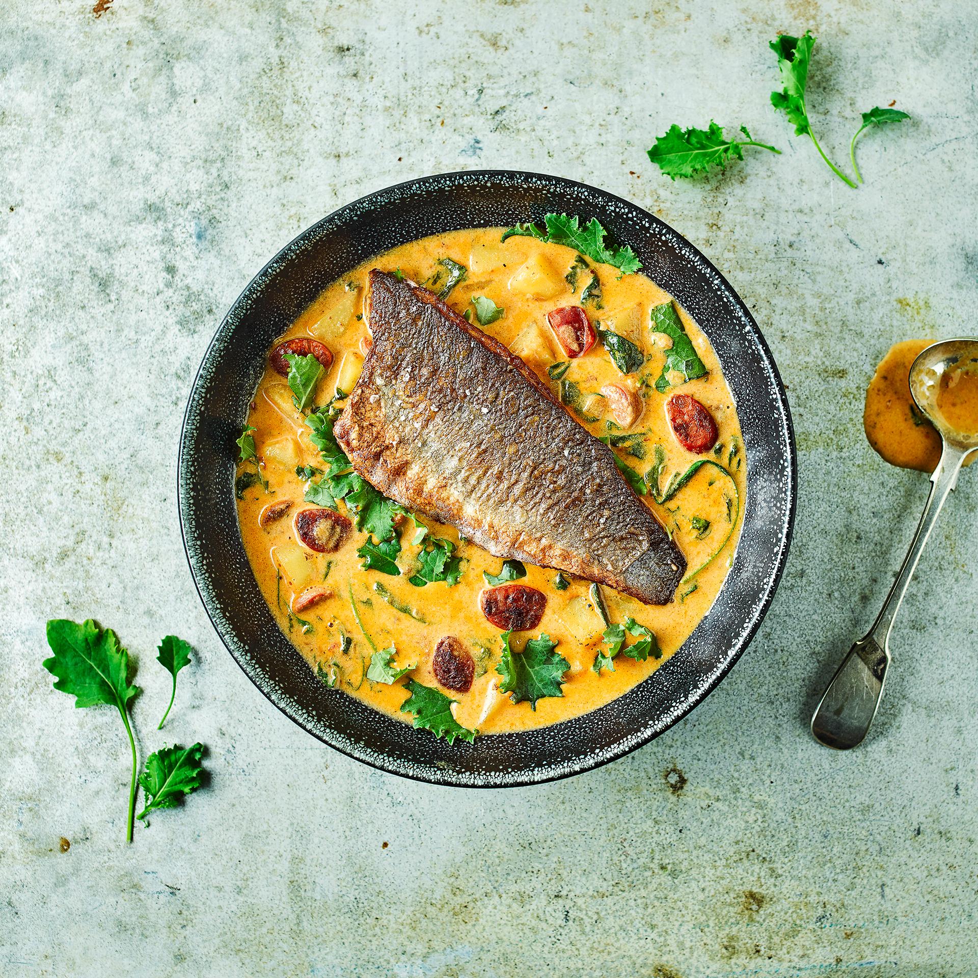 Sea Bass On Smoky Chorizo Chowder Recipe Gousto