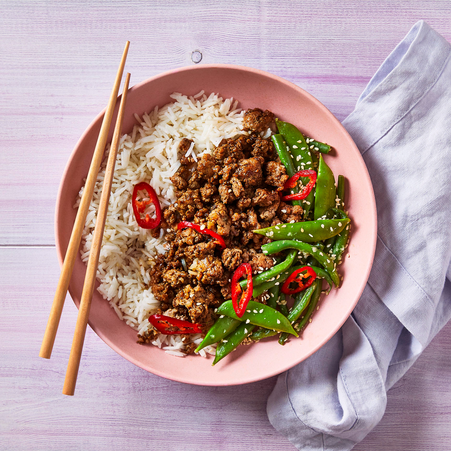 Spicy Hoisin Pork With Ginger & Sesame Veg