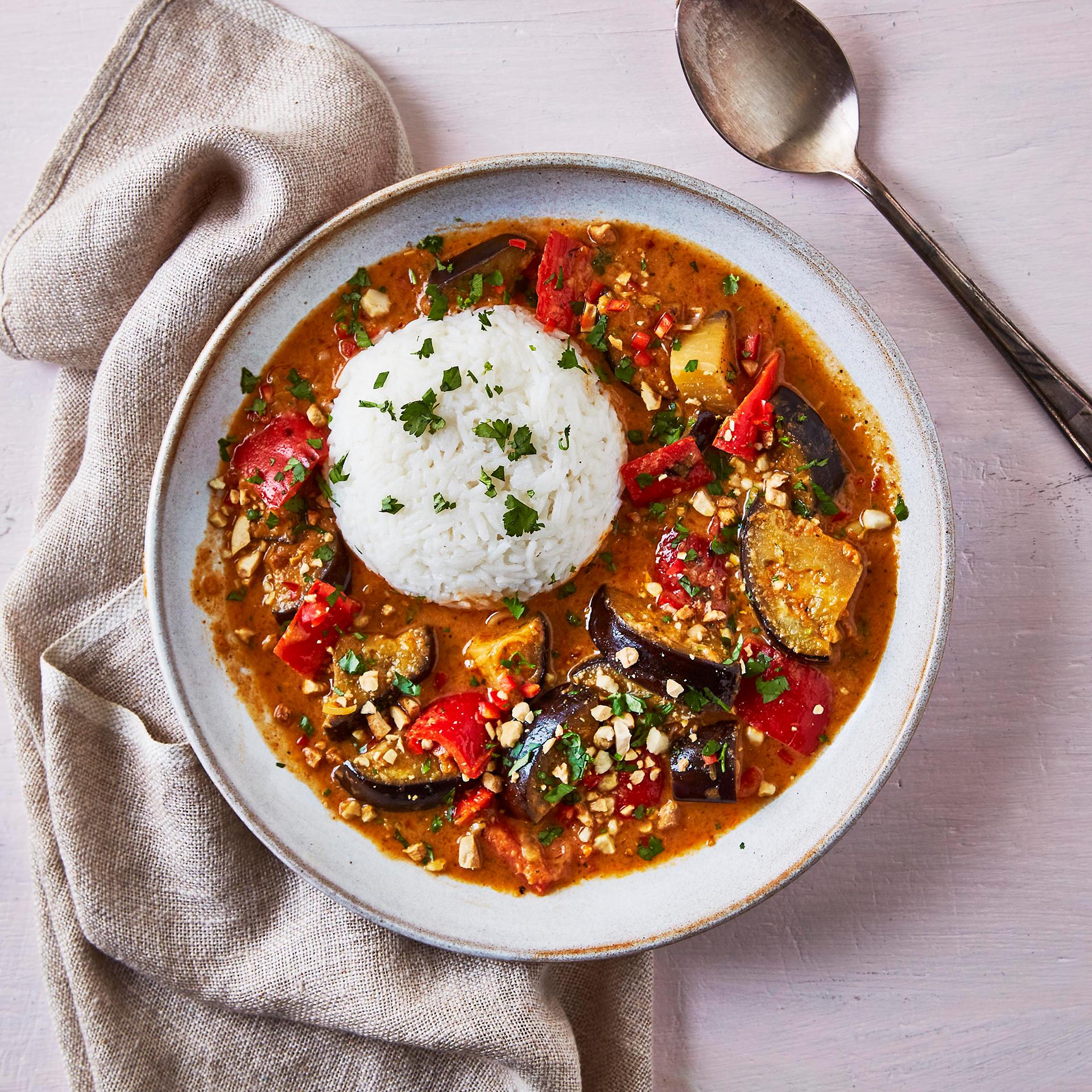 Thai Aubergine Curry With Sticky Rice Recipe Gousto