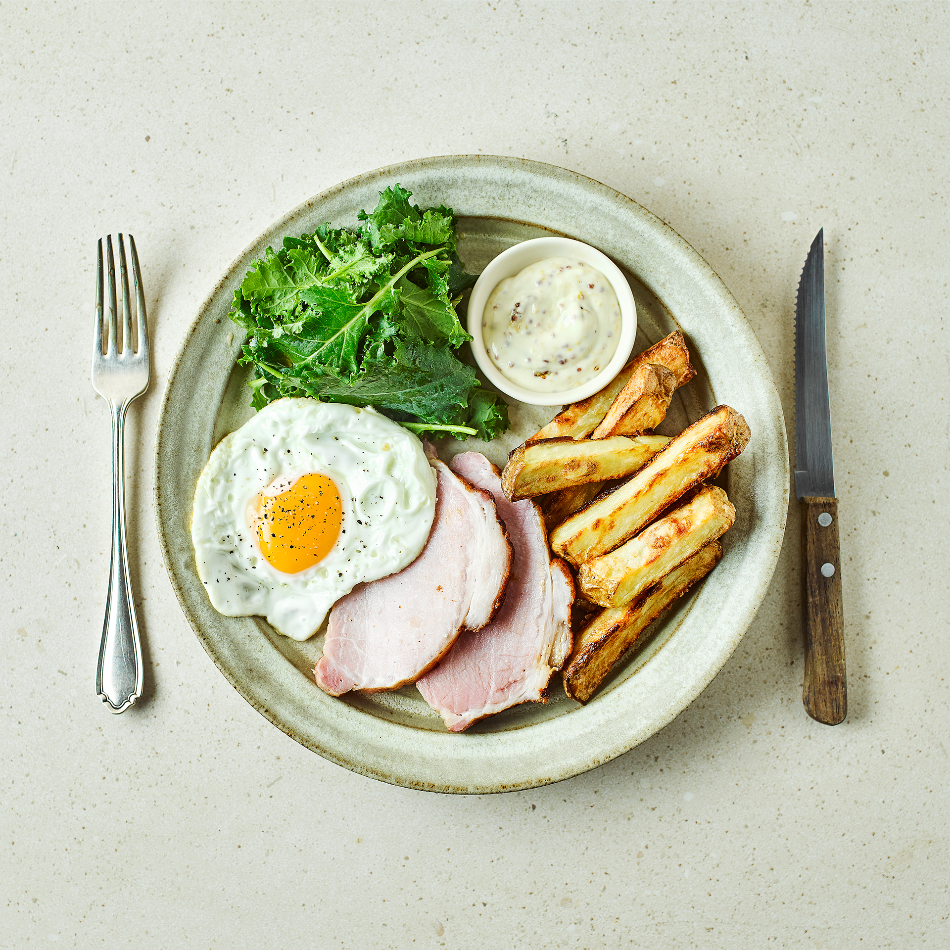 Honey Roast Ham, Egg, Chips & Mustard Mayo Recipe