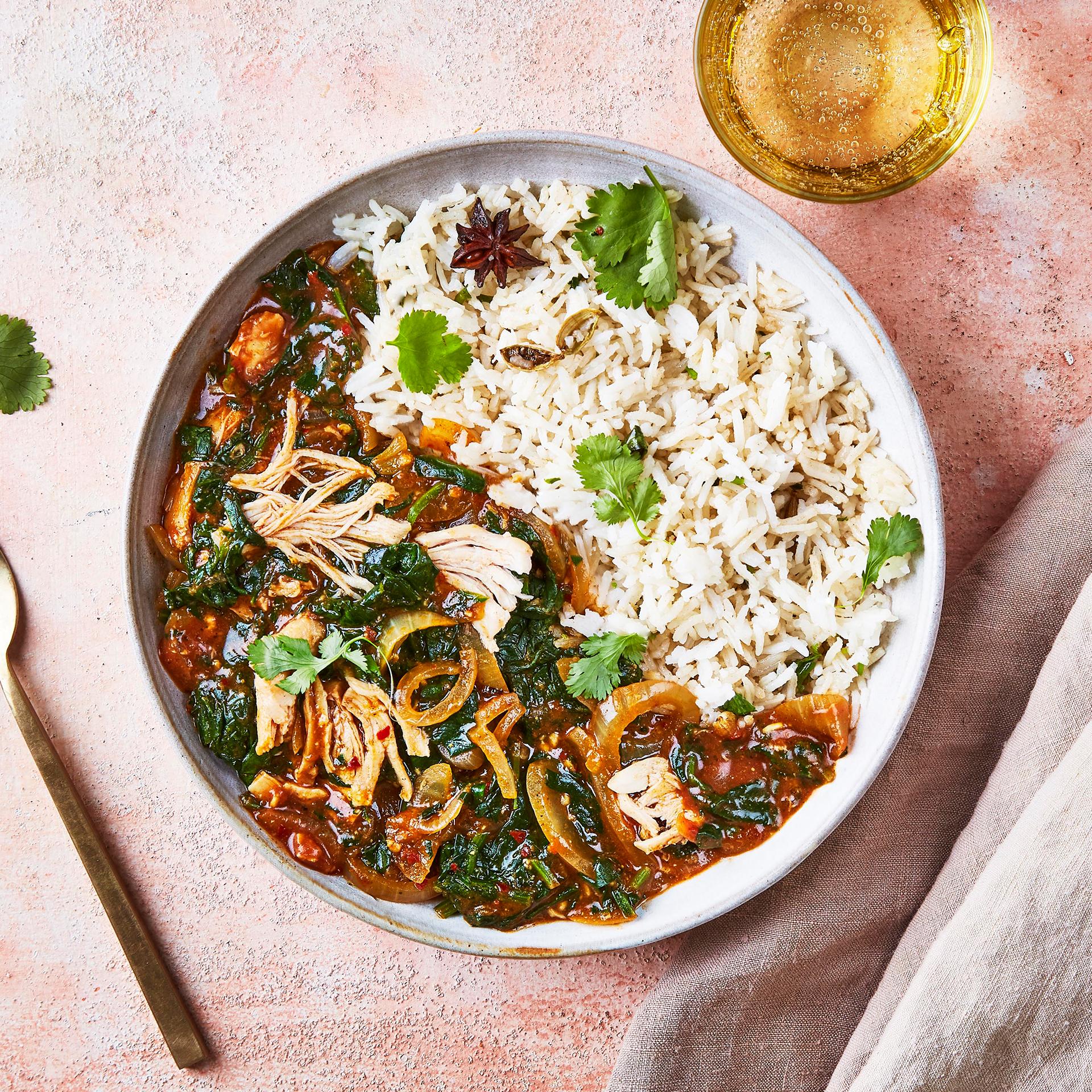 Chicken Saag Masala Amp Pilau Rice Recipe Gousto