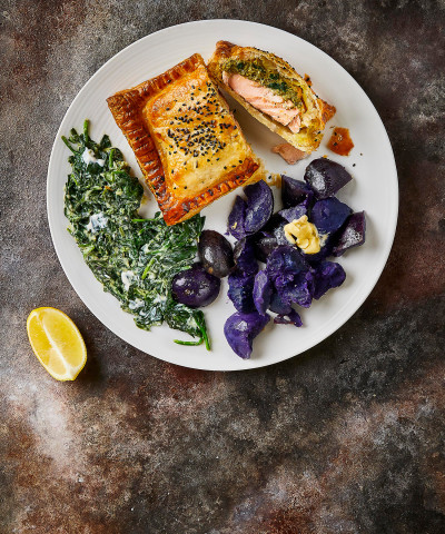 Food boxes get fresh food ingredients delivered gousto pesto salmon en croute with crushed purple potatoes creamed spinach forumfinder Gallery